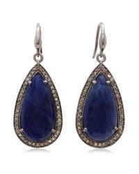 Bavna - Sterling Silver Blue Sapphire And Diamond Drop Earring - Lyst