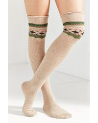 Urban Outfitters - Natural Patterned Over-the-knee Sock - Lyst