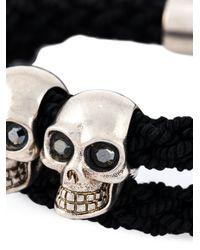 Alexander McQueen | Black Woven Skull Bracelet for Men | Lyst