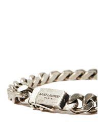 Saint Laurent - Metallic Gourmette Silver Chain Bracelet for Men - Lyst