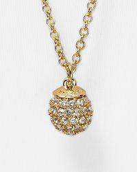 "T Tahari | Metallic Crystal Pavé Ball Necklace, 32"" | Lyst"