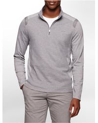 Calvin Klein | Gray White Label Classic Fit Textured 1/4 Zip Long Sleeve Shirt | Lyst