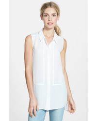 Halogen | White Sleeveless Tunic Blouse | Lyst