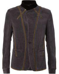 Haider Ackermann - Gray Velvet Trim Military Jacket for Men - Lyst