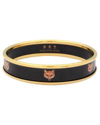 Halcyon Days | Black 18ct Gold Plated Fox Head Bangle | Lyst