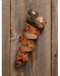 Free People - Brown Vintage Painted Leather Belt - Lyst