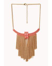 Forever 21 | Pink Boho Babe Fringe Bib Necklace | Lyst
