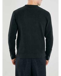 TOPMAN - Lux Black Side Zip Sweatshirt for Men - Lyst