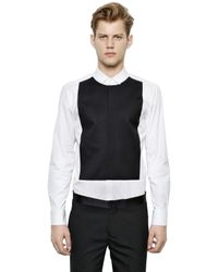 Neil Barrett - Black Two Tone Stretch Cotton Poplin Shirt for Men - Lyst