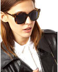 ASOS | Brown Metal Arms Retro Sunglasses | Lyst