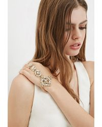 Forever 21 | Metallic Rhinestoned Faux Pearl Hand Chain | Lyst