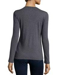 Neiman Marcus - Gray Cashmere Long-sleeve Crewneck Top - Lyst