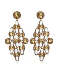 Suzanna Dai | White Marrakech Large Drop Earrings, Ivory/gold | Lyst