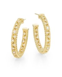 Judith Ripka - Metallic Diamond 18k Yellow Gold Hoop Earrings1 - Lyst