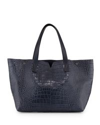 Vince - Blue Signature V Crocodile-Embossed Tote Bag - Lyst