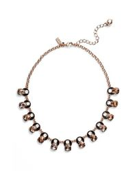 kate spade new york - Metallic 'fame And Flowers' Frontal Necklace - Lyst