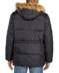Cole Haan - Black Faux Fur Trim Hooded Parka for Men - Lyst