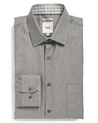 W.r.k. - Gray Extra Trim Fit Herringbone Dress Shirt for Men - Lyst