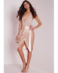 Missguided - Natural Sequin Wrap Midi Skirt Nude - Lyst