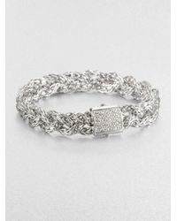John Hardy | Metallic Classic Chain Diamond & Sterling Silver Small Braided Bracelet | Lyst