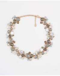 Ann Taylor - Blue Mixed Jeweled Statement Necklace - Lyst