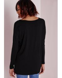Missguided | Black Long Sleeve Boyfriend V-neck T-shirt | Lyst