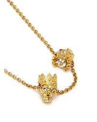 Alexander McQueen | Metallic King And Queen Skull Pendant Necklace | Lyst