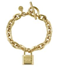 Michael Kors | Metallic Goldtone Chain Link Padlock Bracelet | Lyst