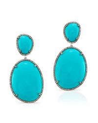 Anne Sisteron - Blue 14kt Oxidized White Gold Turquoise And Diamond Earrings - Lyst