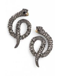 Alexis Bittar - Metallic Coiled Serpent Stud Earrings - Gunmetal - Lyst
