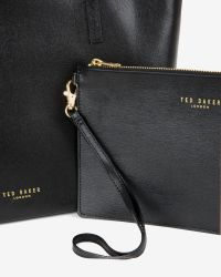 Ted Baker | Black Large Crosshatch Leather Shopper Bag | Lyst
