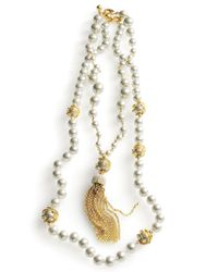 Lulu Frost | Metallic Simulated Pearl Long Tassel Necklace | Lyst