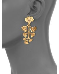 Oscar de la Renta | Metallic Ginko Leaf Clip-on Drop Earrings | Lyst