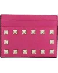 Valentino - Pink Studded Card Holder - Lyst