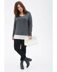 Forever 21 - Gray Plus Size Heathered Colorblock Top - Lyst