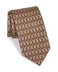 Ferragamo - Brown Giraffe & Bird Print Silk Tie for Men - Lyst