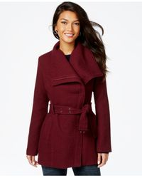 Madden Girl | Purple Textured Asymmetrical Walker Coat | Lyst