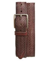 John Varvatos - Brown Chevron Embossed Leather Belt for Men - Lyst