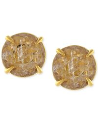 Vince Camuto - Metallic Gold-tone Crackle Stone Round Stud Earrings - Lyst