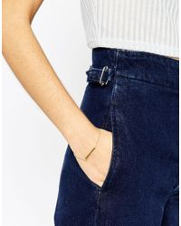 ASOS | Metallic Gold Plated Sterling Silver Solid Bar Chain Bracelet | Lyst