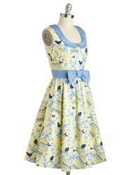 Folter Inc | Yellow All The World's A Stage Dress In Birdcage | Lyst