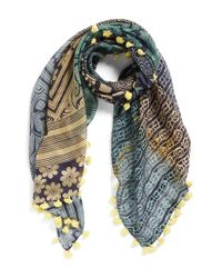 La Fiorentina | Yellow Mixed Print Cotton & Silk Scarf | Lyst