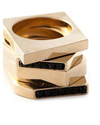 Iosselliani - Metallic 'Bohemian Dark Knight' Set Of Four Stacking Rings - Lyst