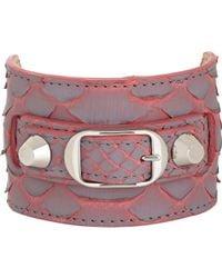Balenciaga - Pink Python Ligne Classic Bracelet-Colorless - Lyst