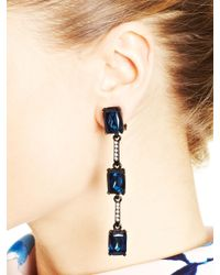 Oscar de la Renta - Blue Crystal Triple Octagon Drop Earrings - Lyst