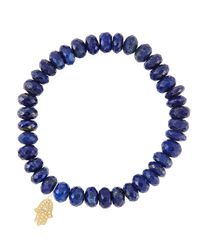 Sydney Evan - Blue 8Mm Faceted Lapis Beaded Bracelet With 14K Yellow Gold/Diamond Small Hamsa Charm (Made To Order) - Lyst