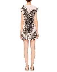 Thakoon Addition - Pink Floral Print Shawl Collar Dress - Lyst