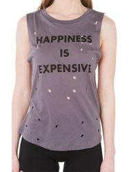 AKIRA - Gray Be Happy Charcoal Distressed Muscle Tee - Lyst