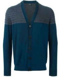 PS by Paul Smith - Blue Contrasting Panels V-neck Cardigan for Men - Lyst