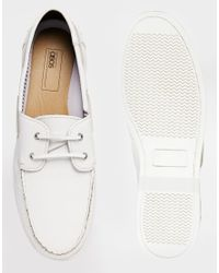 ASOS | White Boat Shoes In Leather for Men | Lyst